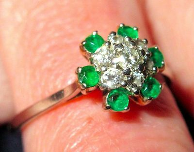 Art Deco 18K Solid White Gold Emerald Diamond Cocktail Ring Cluster 1920-30s