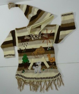 Child's Peruvian Sweater Handmade Knitted Fairy Tales Tan Brown Pocket