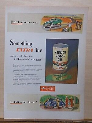 1946 magazine ad for Veedol Motor Oil - Perfection for new cars, Extra Fine