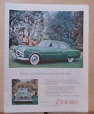 1951 magazine ad for Packard - green Packard portrait with family, Best Loved