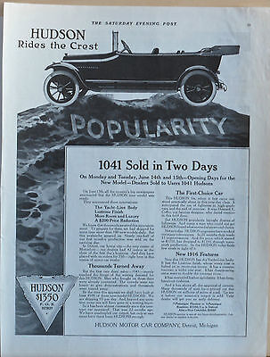 1915 magazine ad for Hudson - Rides the Crest of Popularity, 1041 sold in 2 days