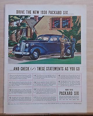 1937 magazine ad for Packard - dark blue 1938 Packard Six, statements to check