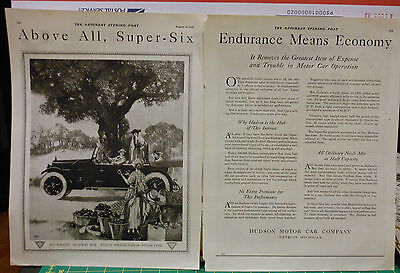 Vintage 1920 two page magazine ad for Hudson - Super Six Phaeton at fruit stand