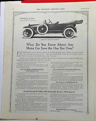 1913 magazine ad for Hudson - Hudson Six picture, Rides like constant coasting