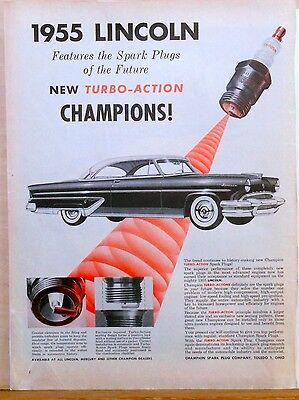 1955 magazine ad for Lincoln & Champion, Turbo Action Spark Plugs in '55 Lincoln