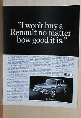 1966 magazine ad for Renault, Won't buy one no matter how good it is? Renault 10