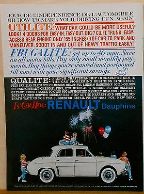 1959 ad for Renault - Le Car Hot : Dauphine in white, French Craftsmanship