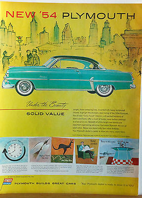 Vintage 1954 magazine ad for Plymouth - Under the Beauty Solid Value, green car