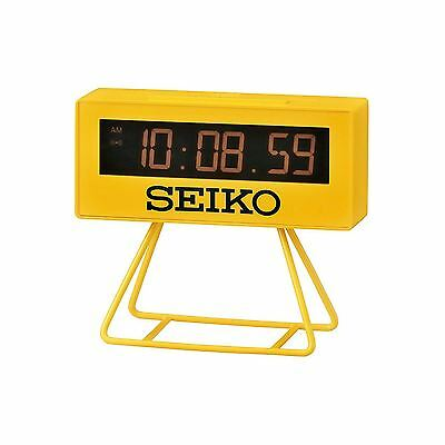 """Seiko QHL062Y Yellow """"Countdown"""" Style Sports Timing Clock with Stand New"""