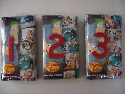 Phineas and Ferb Underwear Underpants Boys 5 Pair Brief Pack 4 6 8 Disney