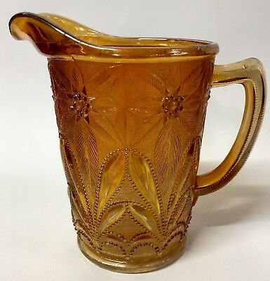 Vintage Imperial Carnival Glass - Antique POINSETTIA Marigold MILK Pitcher 4653