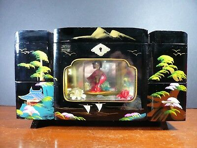 Vintage Chinese Black Lacquer Lighted Jewelry Music Box - Plays Love Story