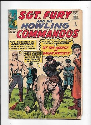 Sgt. Fury And His Howling Commandos #5 ==> Gd+ 1St App Of Baron Strucker 1964