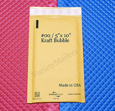 """19 Kraft Bubble Padded Envelope Mailers  #00  5""""x 10""""  Self-Sealing  Made in USA"""