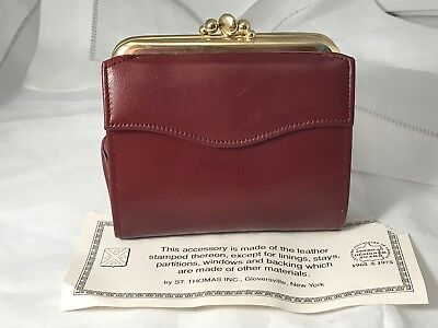"NEW St. Thomas ""Saratoga Duo"" 100% Leather Burgundy VTG Kisslock Coin Wallet"