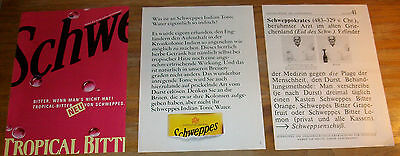 1970's 80's vintage SCHWEPPES Tropical Bitter Schweppokrates Print Ad lot German