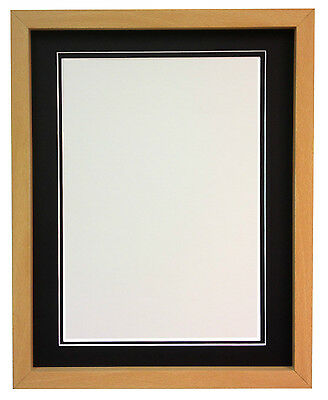 RIO Beech Picture Photo Frames with Black White & Ivory Double Mounts All sizes