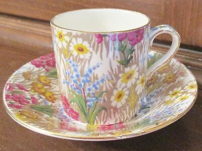 Royal Winton Grimwades Chintz MARGUERITE Can Shaped Demitasse Cup & Saucer