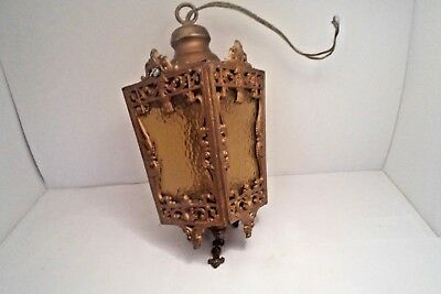 Antique Cast Iron Country Cottage  French Light  Fixture Amber Glass Panels