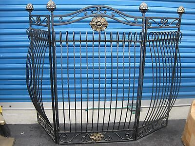 Indoor Black W/ Brushed Gold Finish Iron Three Section Fireplace Screen