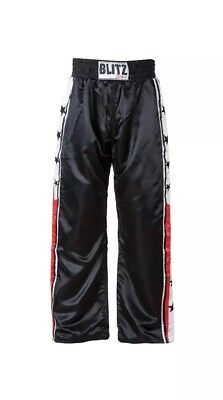 BRAND NEW ~ BLITZ Adult Satin Kickboxing Trousers - Martial Arts - size 7/200cm