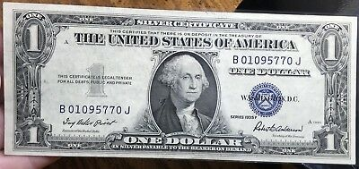 1935 F $1 Dollar Bill Old Us Paper Money Currency Blue Seal Collector Note.5770J