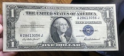 1935 F $1 Dollar Bill Old Us Paper Money Currency Blue Seal Collector Note.3056J