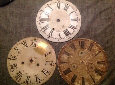 Antique Clock Dials Faces 240mm Diameter Approx Ex Clockmakers Spare Parts Box