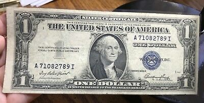 1935 E $1 Dollar Bill Old Us Paper Money Currency Blue Seal Collector Note.2789I