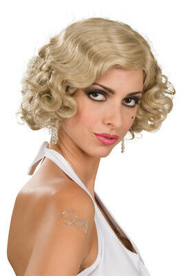 Mixed Blonde Curly Flapper ADULT Wig Costume Accessory NEW Roaring 20s 1920s