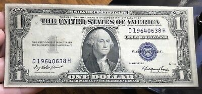 1935 E $1 Dollar Bill Old Us Paper Money Currency Blue Seal Collector Note.0638H