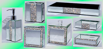 Bella lux mirrored crystal rhinestone bathroom accessories for Bathroom accessories with rhinestones