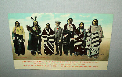 Scarce Old vtg Post Card Harris Curio Co Buying Navajo Indian Blankets Very Nice