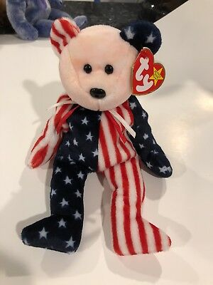 Spangle Ty Beanie Baby 1999 Error in Poem Pink Face Patriotic Unstamped Tush NEW