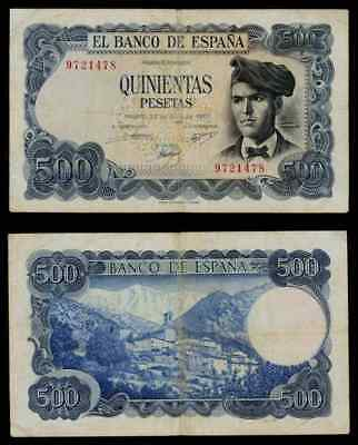 Currency 1971 Spain 500 Pesetas Banknote Writer Jacinto Verdaguer Pick No. 153