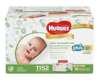 Huggies Natural Care Plus Baby Wipes 1,152-count Fragrance Free Hypoallergenic