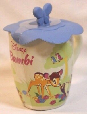 NEW BAMBI Disney Parks Mug Thumper Flower Silicone Butterfly Lid Hot Coffee Tea