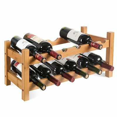 Wine Rack 12 Bottle Holder Bamboo Wood Storage Organiser Display Shelf Stand AU