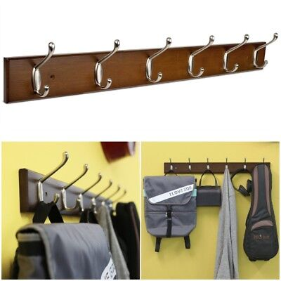 6 Hooks Wall Mounted Coat Cloth Robe Hat Hook Rack Hanger Holder Stand Home AU