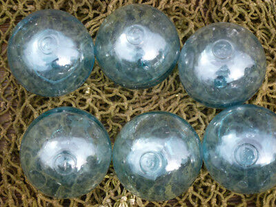 """Vintage Japanese Round Glass Fishing Floats, 3"""", numbered 1 - 6"""