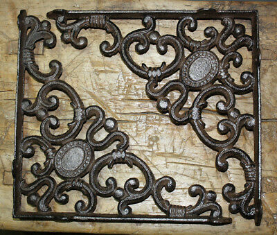 2 LG Cast Iron Victorian Style Brackets Garden Braces RUSTIC Shelf Bracket