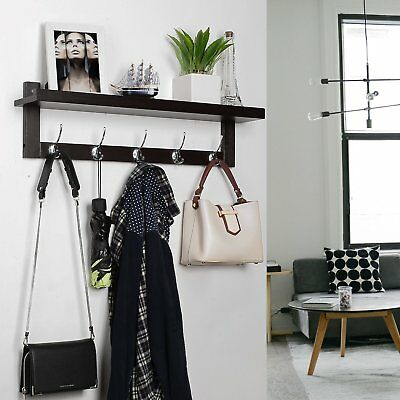 5 Hooks 2 Tier Bamboo Wall Mounted Coat Cloth Robe Hat Hook Rack Hanger Stand AU
