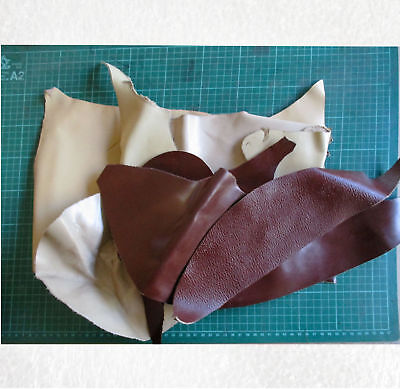 Leather Offcuts 7 pieces cream and brown 180721-2