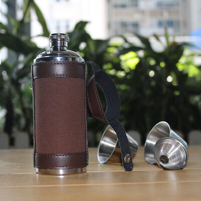 Stainless Steel Round Liquor Alcohol Drinking Wine Bottle Hip Flask+Funnel+2 Cup