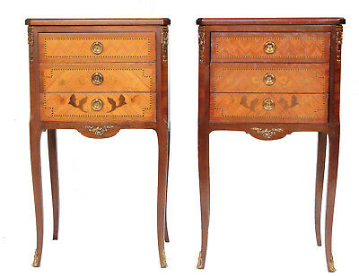 Pair French Louis XV Transition Style Marquetry Inlaid 3-Drawer Nightstands
