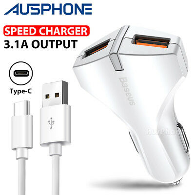 SPEED 3.1A Car Charger Type-C Sync Date Cable For Samsung S9+ S8 Note 8 Google