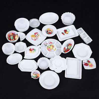 33pcs/Set Dollhouse Mini Plastic Plate Cups Dishes Plate Tableware Miniat Gift