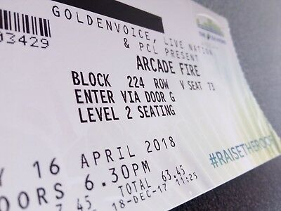 Arcade Fire tickets x 2   seated   Monday, 16 April 2018   SSE Hydro, GLASGOW