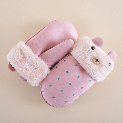 Gifts Glove Suede Lovely Shaped Warmer Printed Children Gloves Kids Winter