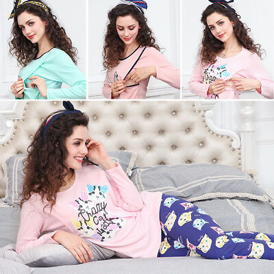 BL_ Cartoon Maternity Sleepwear Suit Pregnant Women Breastfeeding Pajamas Set Co